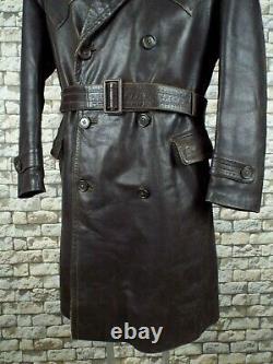 1940's German Leather Coat L Vintage Kriegsmarine Flieger Trench Overcoat WW2