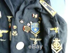 Authentic German WW 2 Kriegsmarine Tunic, Patches, Medals VET Bring Back