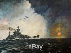 DON CAMERON ORIGINAL german ww2 kriegsmarine battleship Gneisenau war PAINTING