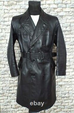 ELVO 1940's German Leather Coat M / L Black Vintage Kriegsmarine Overcoat WW2