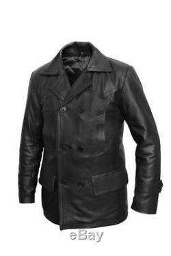 German Black Real Leather U-Boat Jacket-WW2 Kriegsmarine Repro Coat All Sizes