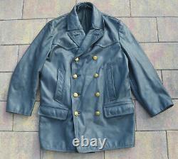 German WWII Kriegsmarine Grey Leather U-Boat Officers Jacket Coat Rare War Relic