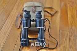 German Ww2 Huet Kriegsmarine Marine 10x50 Armored Binoculars With Canvas Case WOW