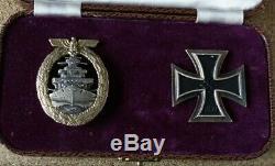 German Ww2 Navel Issued iron cross 1st Class, With Kriegsmarine High Sea's Badge
