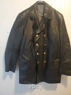 German black Leather U-Boat Jacket WW2 Kriegsmarine coat 46 quality repo