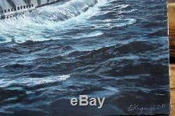 Huge Original Ww2 Wwii Kriegsmarine German Navy U-boat Submarine Art Painting