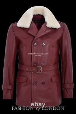 KRIEGSMARINE Mens Leather Coat German WW2 Long Jacket Cherry Cowhide Pea Coat