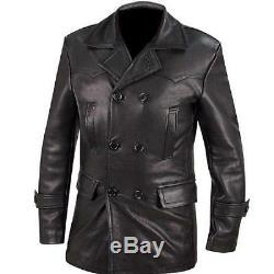 KRIEGSMARINE WW2 GERMAN Navy Black UBoat CowHide Mens Leather 3/4 Coat All Sizes