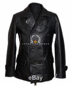 Kriegsmarine Black Men's German Reefer WW2 Cowhide Leather Deck Jacket Pea Coat