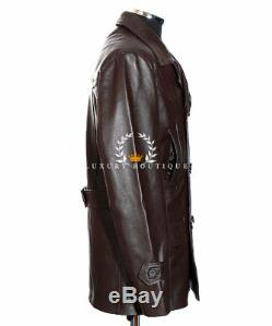 Kriegsmarine Brown Men's German Reefer WW2 Cowhide Leather Deck Jacket Pea Coat
