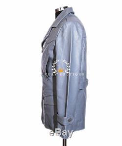 Kriegsmarine Grey Men's German Reefer WW2 Cowhide Leather Deck Jacket Pea Coat