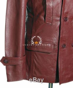 Kriegsmarine Maroon / Red Men's German WW2 Cowhide Leather Deck Jacket Pea Coat