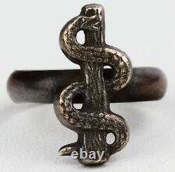 Kriegsmarine WWII German WW2 Doctor's Ring Silver SNAKE Rod Asclepius Germany St