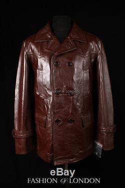 Men's KRIEGSMARINE Brown German U-Boat WW2 Hide Leather Jacket Pea Coat