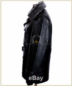 Men's Kriegsmarine Black Fur Collar New WW2 German Leather Deck Jacket Pea Coat