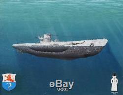 Original Ww2 Wwii Kriegsmarine German Navy U-boat Submarine U-201 Art Painting