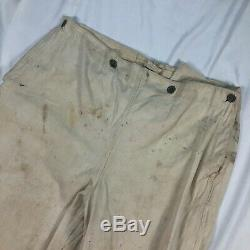 Original Wwii German Kriegsmarine Navy Work White Trousers Named