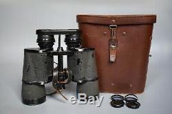 RARE Vintage WWII German 7x50 RLN Zeiss Kriegsmarine Gas Mask Binoculars U-Boat