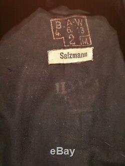 Rare Original German WWI WW2 KRIEGSMARINE TUNIC NAMED MARKED SALZMANN PERFECT