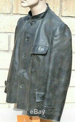 Real! German Wwii Kriegsmarine Leather Deck Coat Jacket Named Germany Navy Ww2