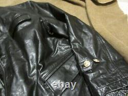 Reproduction German Ww2 Kriegsmarine Officers Black Leather Deck Jacket Size XXL