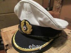Reproduction German Ww2 Kriegsmarine U-boat Lieutenants White Visor Cap Hat