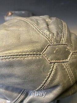 Vintage Original WW2 German Kriegsmarine Navy Leather & Fur Skull Cap Hat