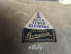 Vintage WW2 German leather jacket, U boat, submarine, Kriegsmarine