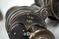 Vintage WWII German 7x50 Leitz BEH Kriegsmarine U-Boat Binoculars Original