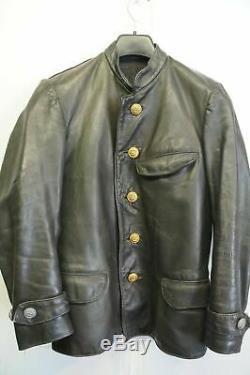 Vintage Ww2 German Officers Kriegsmarine Uboat Leather Jacket Size Xs