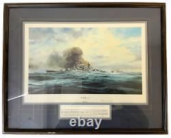 WW2 German Kriegsmarine KM Bismarck Robert Taylor Signed Framed Print 27 x 22