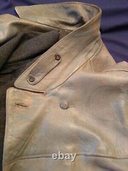 WW2 German Kriegsmarine U-Boat officer grey leather jacket. Metal buttons. READ