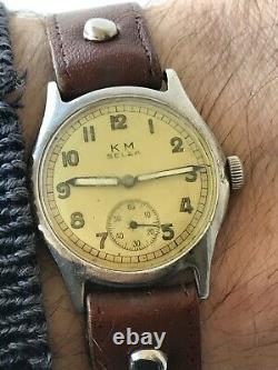 WW2 KM Selza Kriegsmarine German military watch, works 100% authentic, wonderful