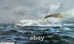 WW2 Kriegsmarine German Naval art print Battleship Tirpitz Tromso Fjord Ltd ed