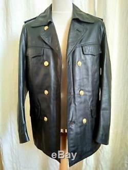 WW2 Replica Kriegsmarine Black Leather Jacket U Boat Coat Kreigsmarine German
