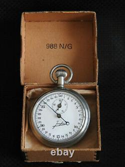 WWII GERMAN KRIEGSMARINE U-BOAT Torpedo Timer STOP WATCH JUNGHANS 988 N/G W CASE