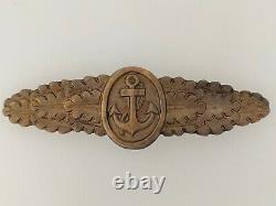 WWII German Kriegsmarine Navy Metal Combat badge or clasp Nahkampfspange Bronze