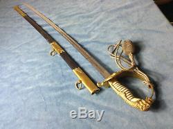 WWII German Kriegsmarine Navy Naval Sword & Scabbard By WKC Solingen + Knot