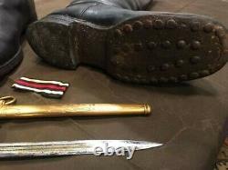 World War II German Kriegsmarine Eickhorn Officers Dagger Belt Boots