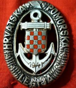 Ww2 Croatian Naval Legion Qualification Badge Medal Ndh-german Kriegsmarine
