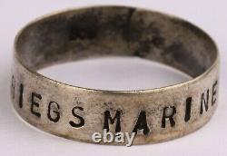 Ww2 GERMAN Ring WWII Kriegsmarine NAVY Marine STERLING Silver 800 Trench Art GER