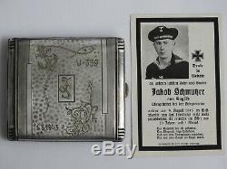 Ww2 German Kriegsmarine U-359 U-boat Cigarette Case 1.3.1943 + Death Card