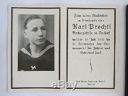 Ww2 German Kriegsmarine U-613 Crew Palaque + Death Card Karl Prechtl July 1943