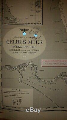 Ww2 German Kriegsmarine U Boot Seekarte Nautical charts Yellow Sea Gelbes Meer