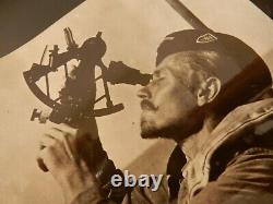 Ww2 Press Iconic Photograph German Kriegsmarine U-boat Crewmember Using Sextant