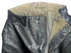Wwii German Navy U-boat Kriegsmarine Leather Trousers / Original & Scarce